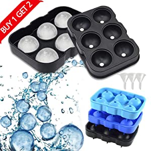 Ice Cube Trays Silicone Set of 3, Whiskey Ice Ball Maker with Lid Black Ice Ball Mold for Cocktail