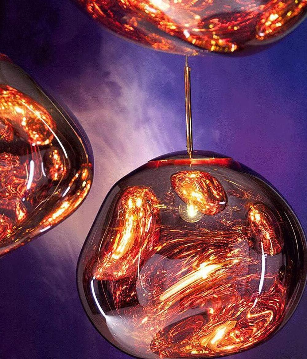 GHHYS Lave Melt Plafonnier Suspension PVC Lampe//lumi/ères Verre Lava irr/éguli/ère Argent//Or//Cuivre Rouge Miroir Salon Hanging Lampes,dor,25cm