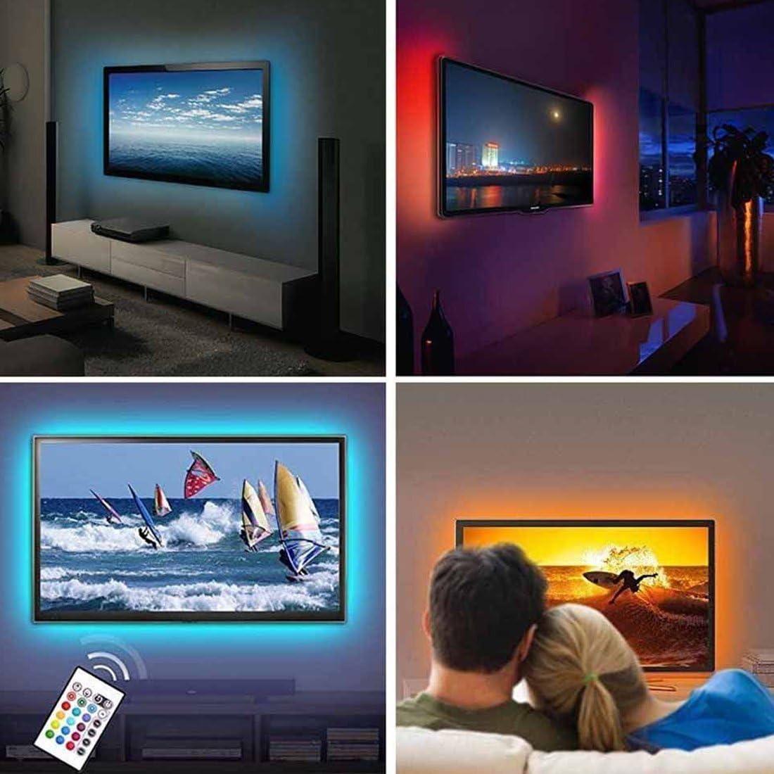 feican Bias Lighting TV retroiluminación para HDTV LED tiras luces LED con mando a distancia, 2 RGB tira de luces LED Home Multi Color RGB LED neón Accent TV iluminación para soporte
