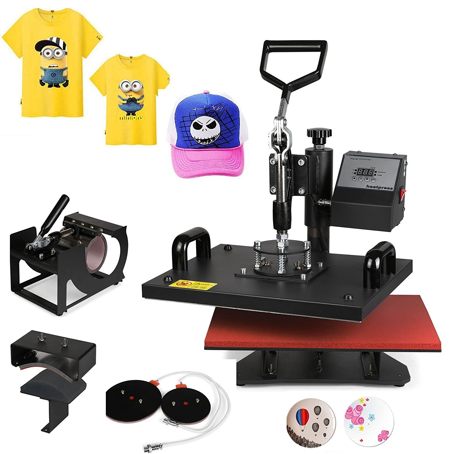Mophorn Heat Press 15 X 15 Inch 8 in 1 Desktop Iron Baseball Hat Press Multifunction Sublimation Heat Press Machine Digital Swing Away Design (8pcs 15X15 Presser)