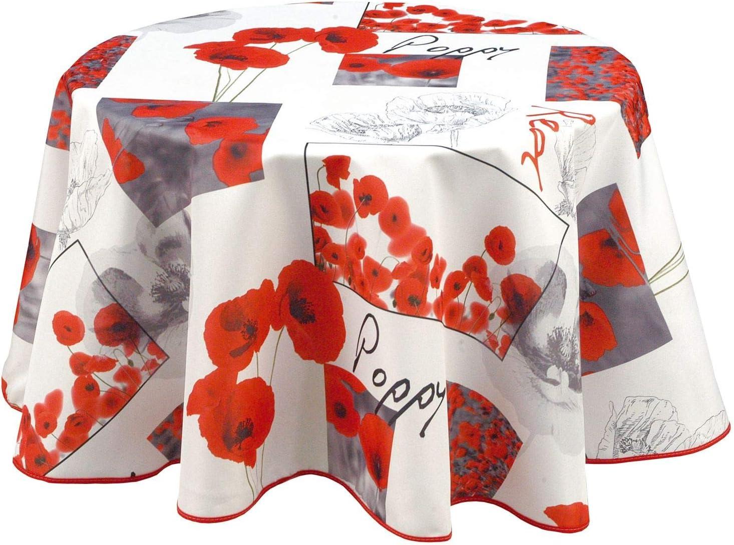 135 cm Blanc Diam CMP Nappe en Toile cir/ée Ronde Coquelicots Poppy