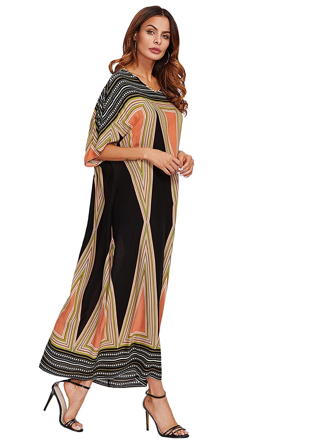 Old Fashioned Dresses | Old Dress Styles Floerns Womens Short Sleeve Oversized Maxi Kaftan Dress $17.99 AT vintagedancer.com