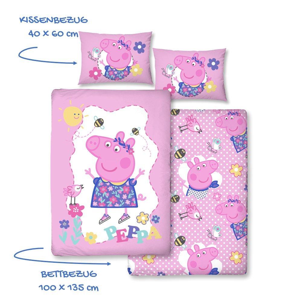 Peppa Pig niña de cama · cama infantil/bebé · Morado, Rosa, Rosa · Peppa Pig Sunny Day · Reversible cama · almohada 40x 60+ Edredón de 100x 135cm–Cremallera–100% algodón Character World