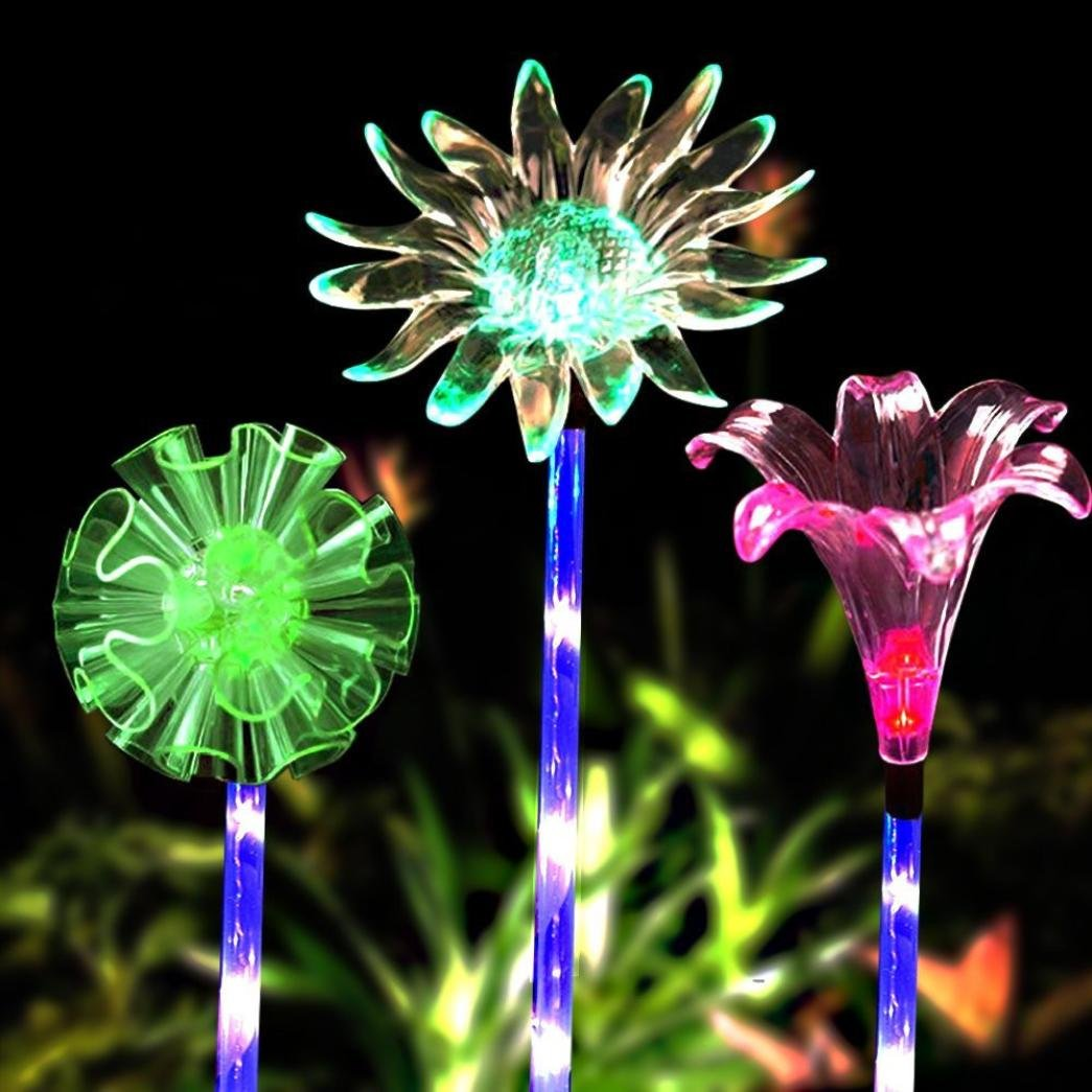 LiPing 3 Pcs Multi-color LED Artificial Flowers Solar Stake Lights Solar Outdoor Decorative Light (B)