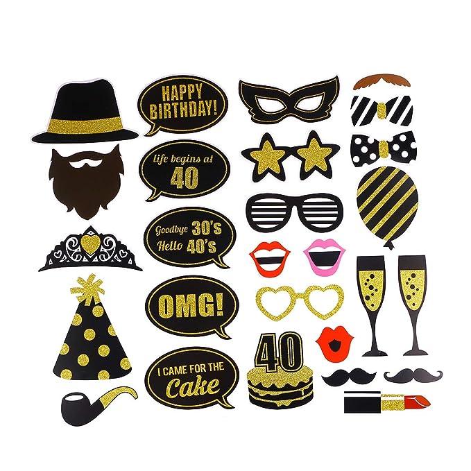 BESTOYARD 27pcs 40 cumpleaños Bricolaje años Divertidos decoración del Favor máscaras Sombrero Gafas para niños Mujeres Hombre