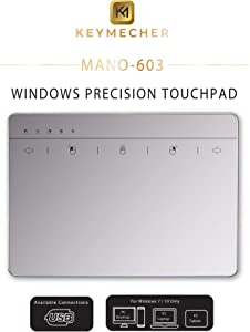 Keymecher Mano Multi-Gesture Wired Trackpad for Windows 7 and Windows 10, USB Slim Touchpad Mouse for Computer, Notebook, PC, and Laptop (Aluminum Silver, Support Windows Precision Touchpad)