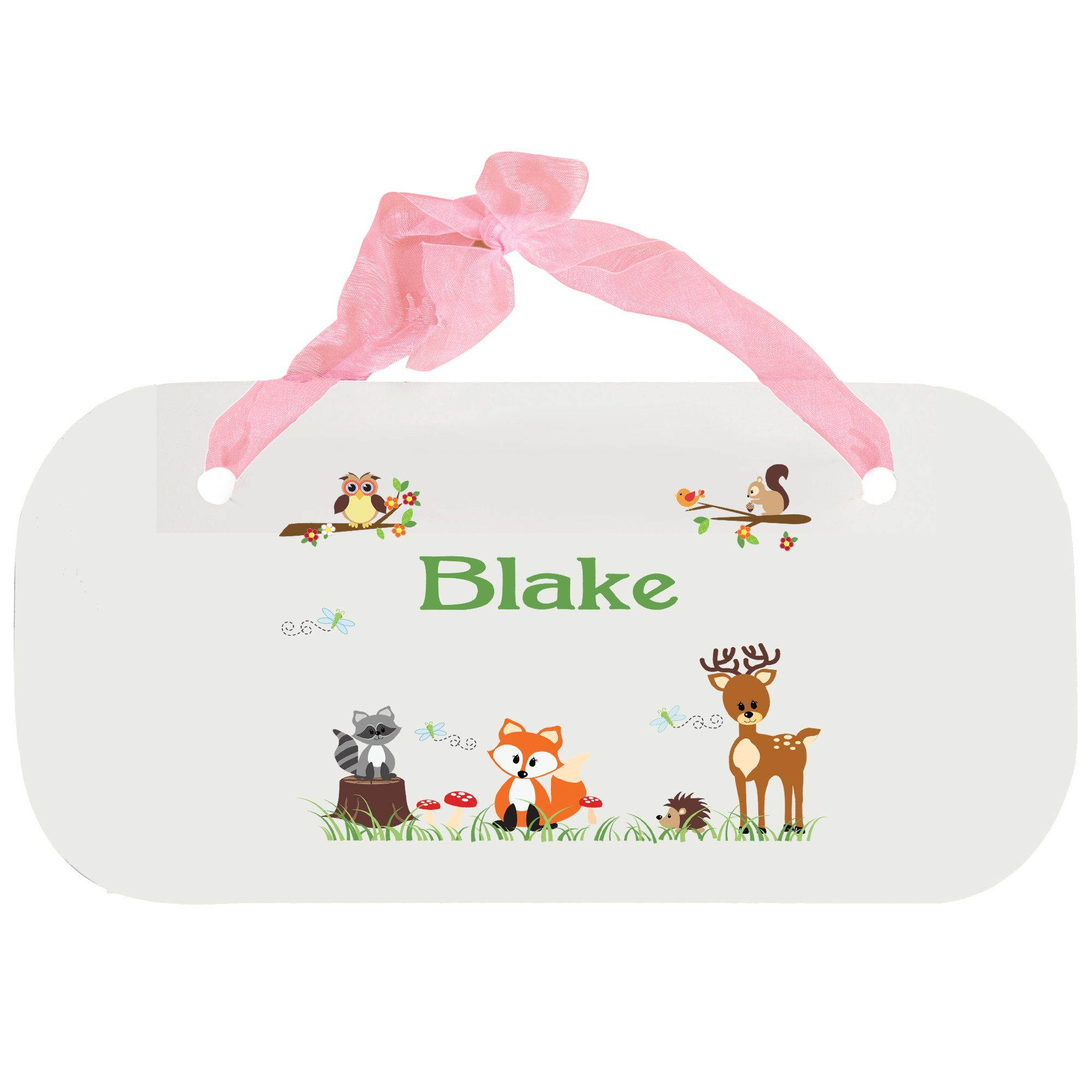 Personalized Green Forest Animal Nursery Door Hanger Plaque with pink ribbon