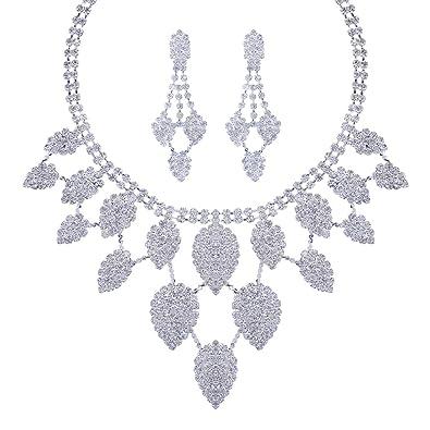 edb2d12fe531 Santfe Novias Estilo Cristal Rhinestone Pendientes Collar Conjunto mujer  collar colgantecolor de plata (3)