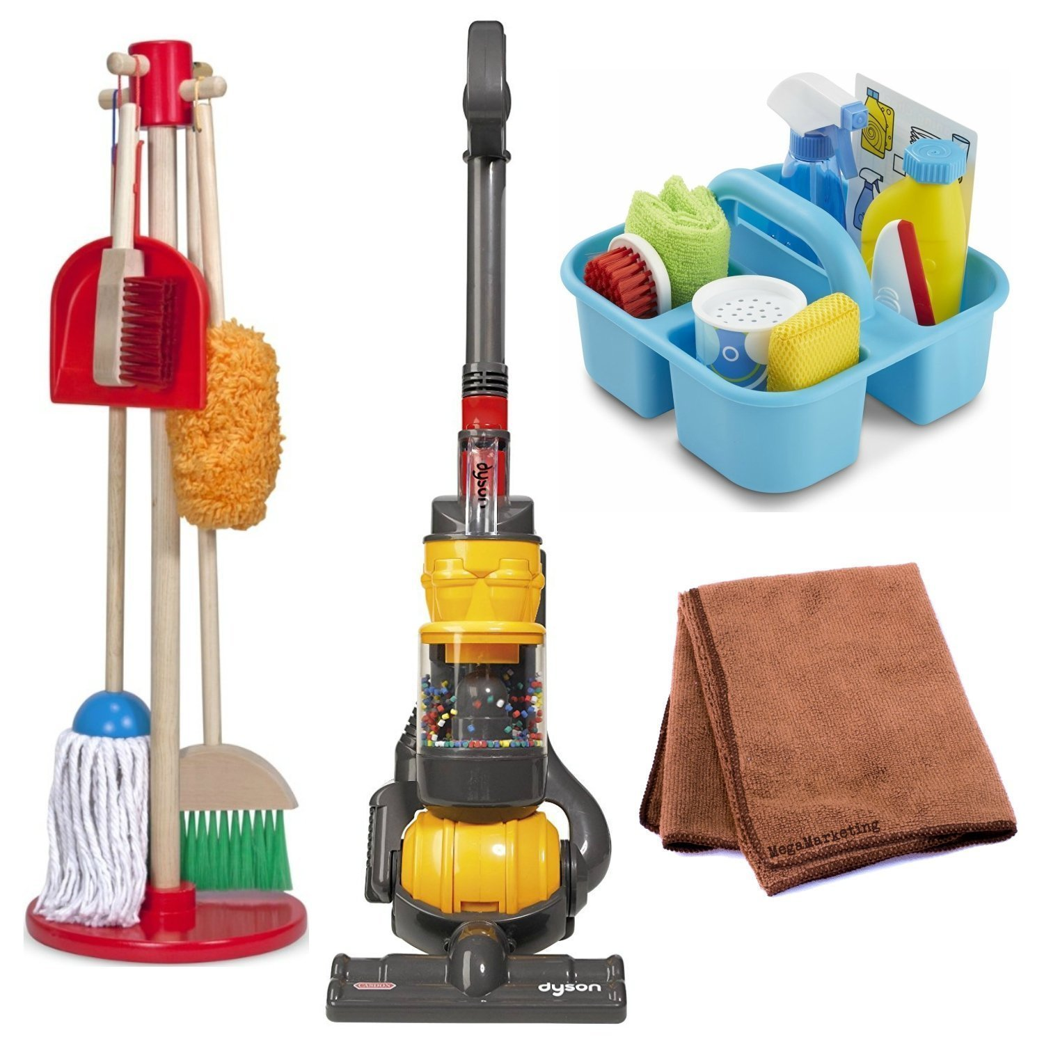 Toy Vacuum Pretend Play Dyson Ball Vacuum With Real Suction and Sounds with Melissa and Doug Cleaning Set and Cleaning Cloth