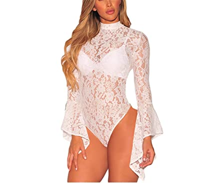 Autumn Combinaison Femme Black White Sheer Floral Lace Bell Sleeve  Turtleneck Bodysuit Long Sleeve Body Mujer Lc32158 at Amazon Women s  Clothing store  c691c9413