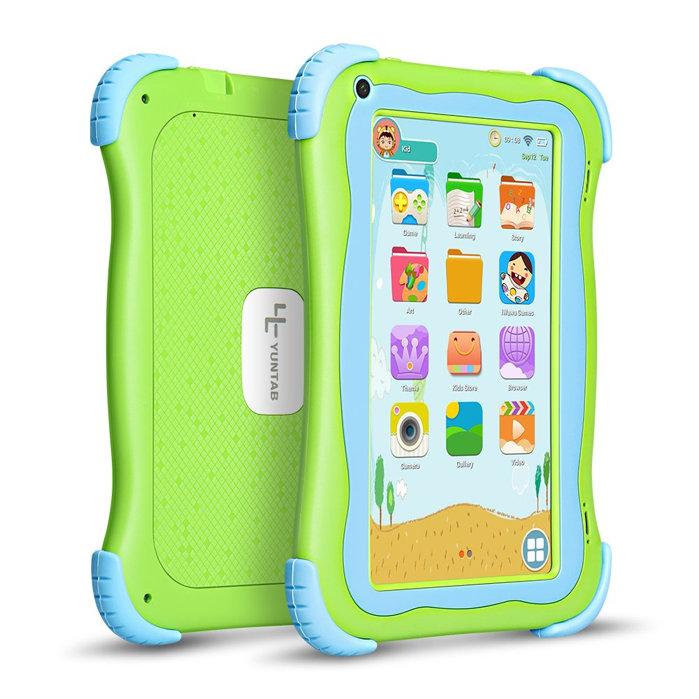 Yuntab Q91 7 inch Android 5.1 Kids Edition Tablet PC with Premium Parent Control Kids Software Pre-Installed Allwinner A33 Quad-core, 1+8GB, Duanl Camera, WiFi , Bluetooch tablet for kids (Green)