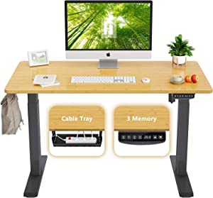 FEZIBO Height Adjustable Electric Standing Desk, 40 x 24 Inches Stand Up Table, Sit Stand Home Office Desk with Splice Board, Black Frame/Bamboo Top