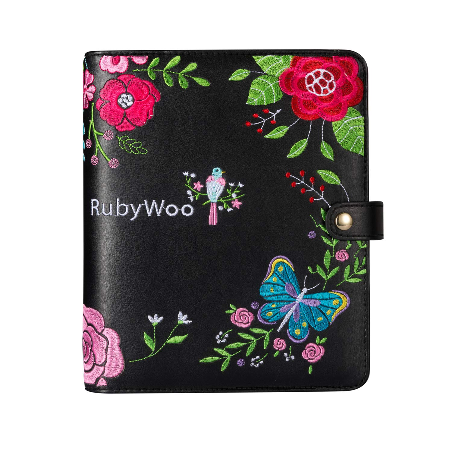 Rubywoo Journal Travel Composition Notebook Round Ring Binder Button Filofax Planner Organiser Personal Memo Calendar 2020/2021 Premium Thick Paper (A5, Black Embroidery)
