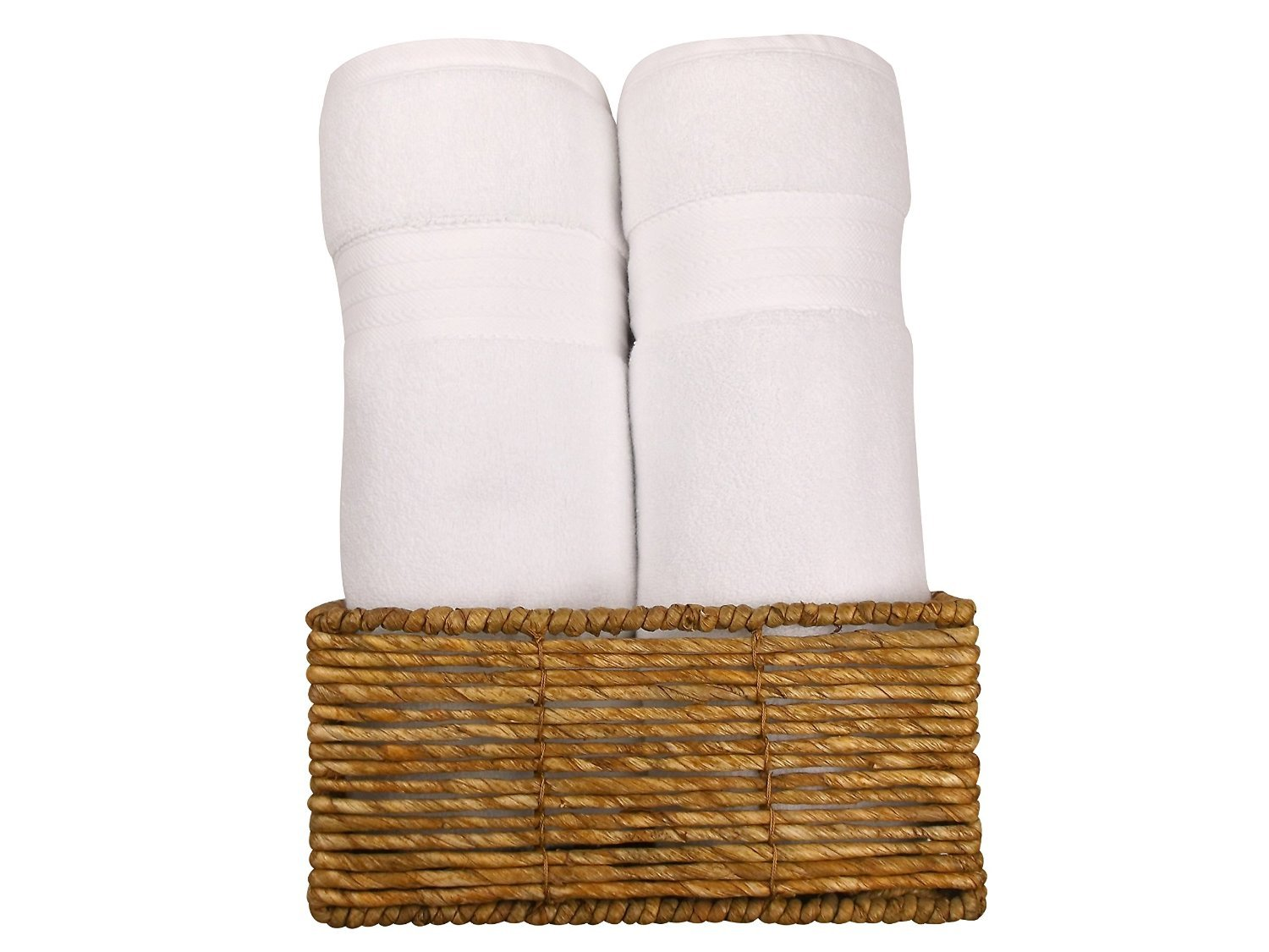Luxury Hotel & Spa Bath Towels-65% Cotton & 35% Bamboo Set of 2, White