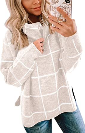 ECOWISH Women Pullover Sweater Turtleneck Plaid Long Sleeve Loose Casual  Chunky Checked Knitted Winter Sweaters Jumper Tops at Amazon Women's  Clothing store