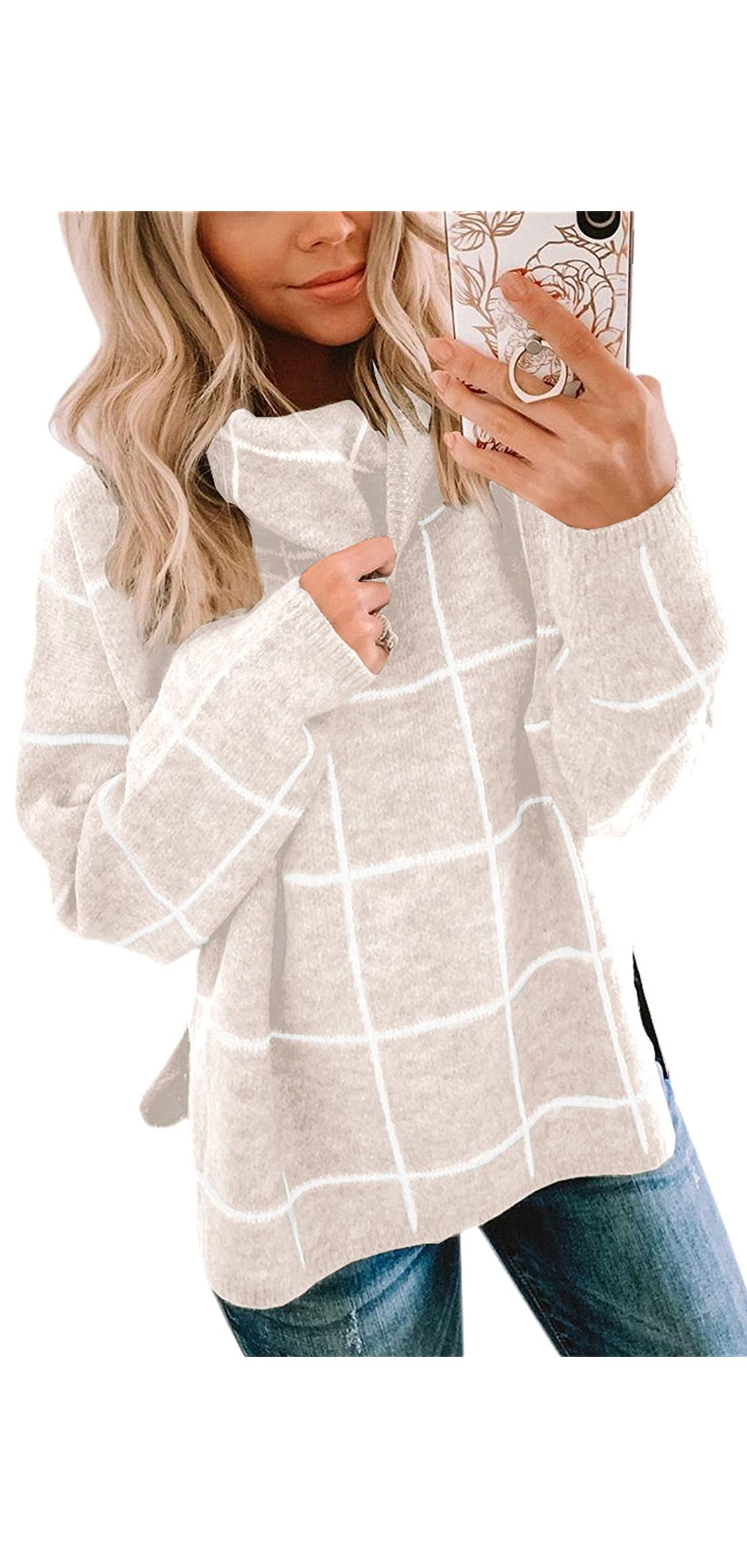 Women Pullover Sweater Turtleneck Plaid Long Sleeve Tops