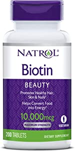 Natrol Biotin Beauty Tablets, Promotes Healthy Hair, Skin & Nails, Helps Support Energy Metabolism, Helps Convert Food Into Energy, Maximum Strength, 10, 000mcg, 200Count