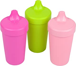 product image for Re-Play Made in The USA 3pk Toddler Feeding No Spill Sippy Cups for Baby, Toddler, and Child Feeding - Bright Pink, Lime Green, Blush (Tulip) Durable, Dependable and Toddler Tough