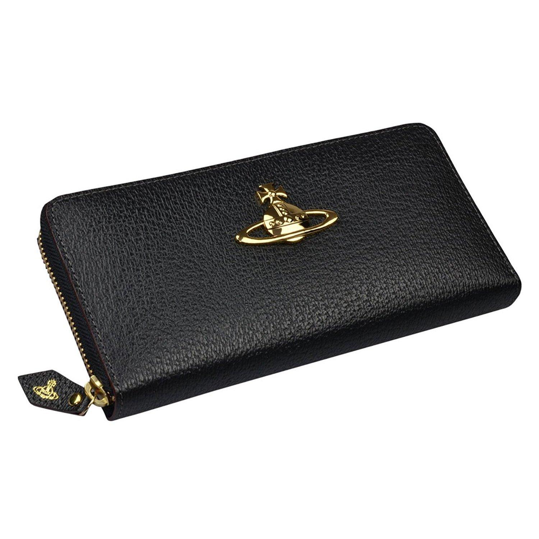 [セット品] 名入れ 刻印 セット ギフトラッピング済 ヴィヴィアン ウエストウッド 長財布 エグゼクティブ 本革 ラウンドファスナー ステアレザー 牛革 Vivienne Westwood EXECUTIVE オーブ ブランド 財布 B01AYUVUUOブラック 名入れあり