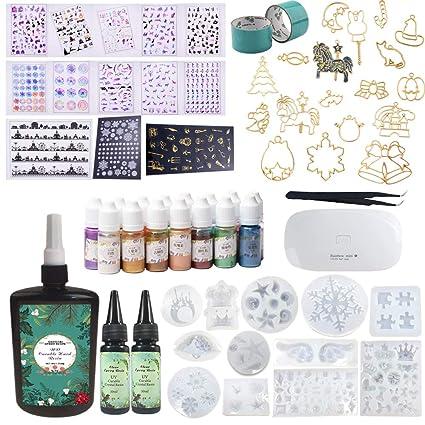 310ML(250 + 2 * 30) Resina epoxi 12 Moldes de silicona 15 Pigmentos
