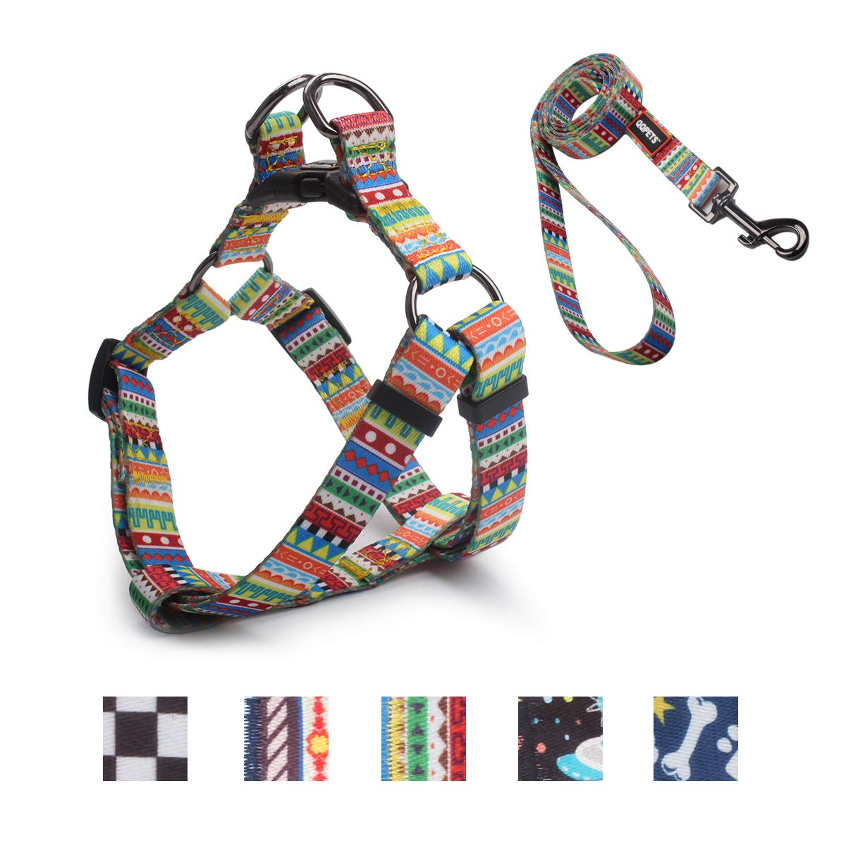 Geometric S(14\ Geometric S(14\ QQPETS Dog Harness Leash Set, Adjustable Vest Durable Heavy Duty Small Medium & Large Dogs Perfect for Walking Running Training (S(14 -20  Chest Girth), Geometric)