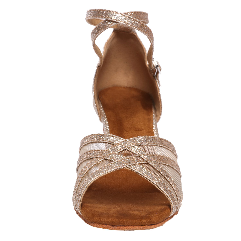 Akanu Women's Latin Dance Shoes Female's Ballroom Salsa Dance Shoes(E-Style Gold Size 7.5) by Akanu (Image #2)