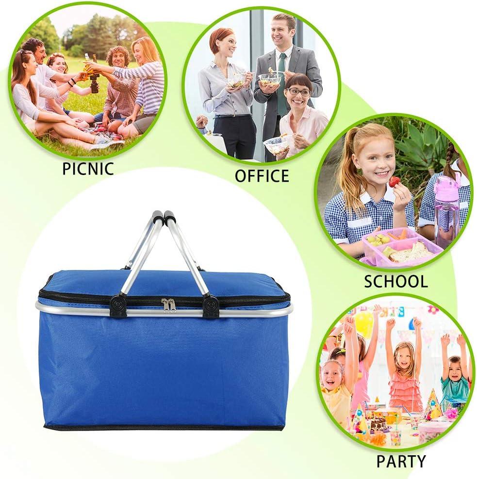 Azul JTWEB Cesta Picnic Familia Plegable para Picnic Bolsa T/érmica de Picnic Grande Plegable para Viajes Cesta de Almacenamiento para la Compra