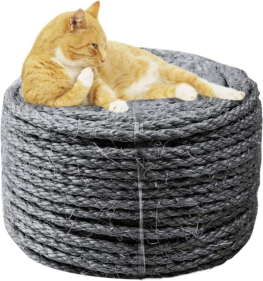 Home Decoration 6MM*30M Cat Scratch Pad//Mat//Kicker Toy Black MOUHIV 6MM Sisal Rope for Repair and Replacement of Cat Scratching Post Cat Tree Pipe//Stairs//Tire Wrapping