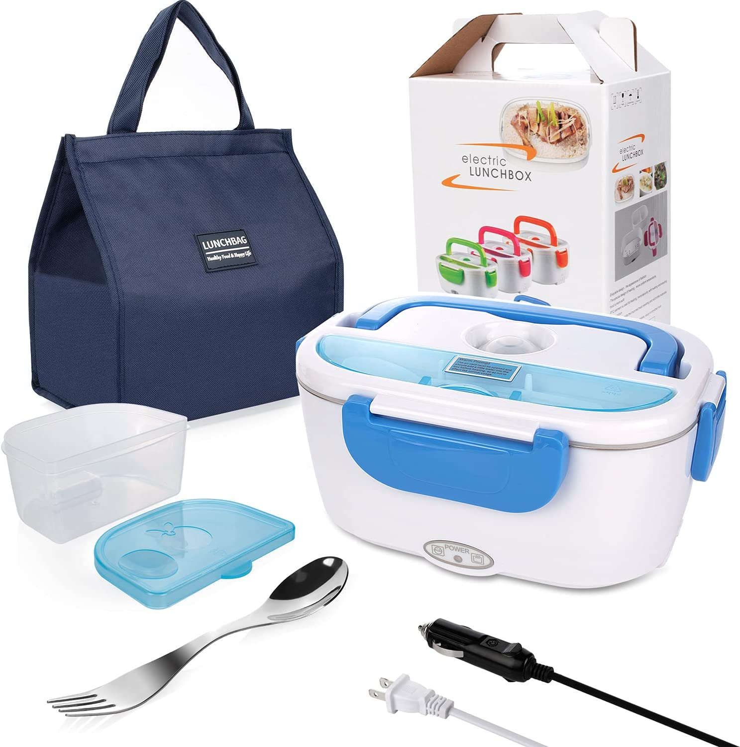 Electric Lunch Box for Car and Home 110V & 12V 40W - Removable Stainless Steel Portable Food Grade Material Warmer Heater - With Fork & Spoon & Carry Bag (Blue)