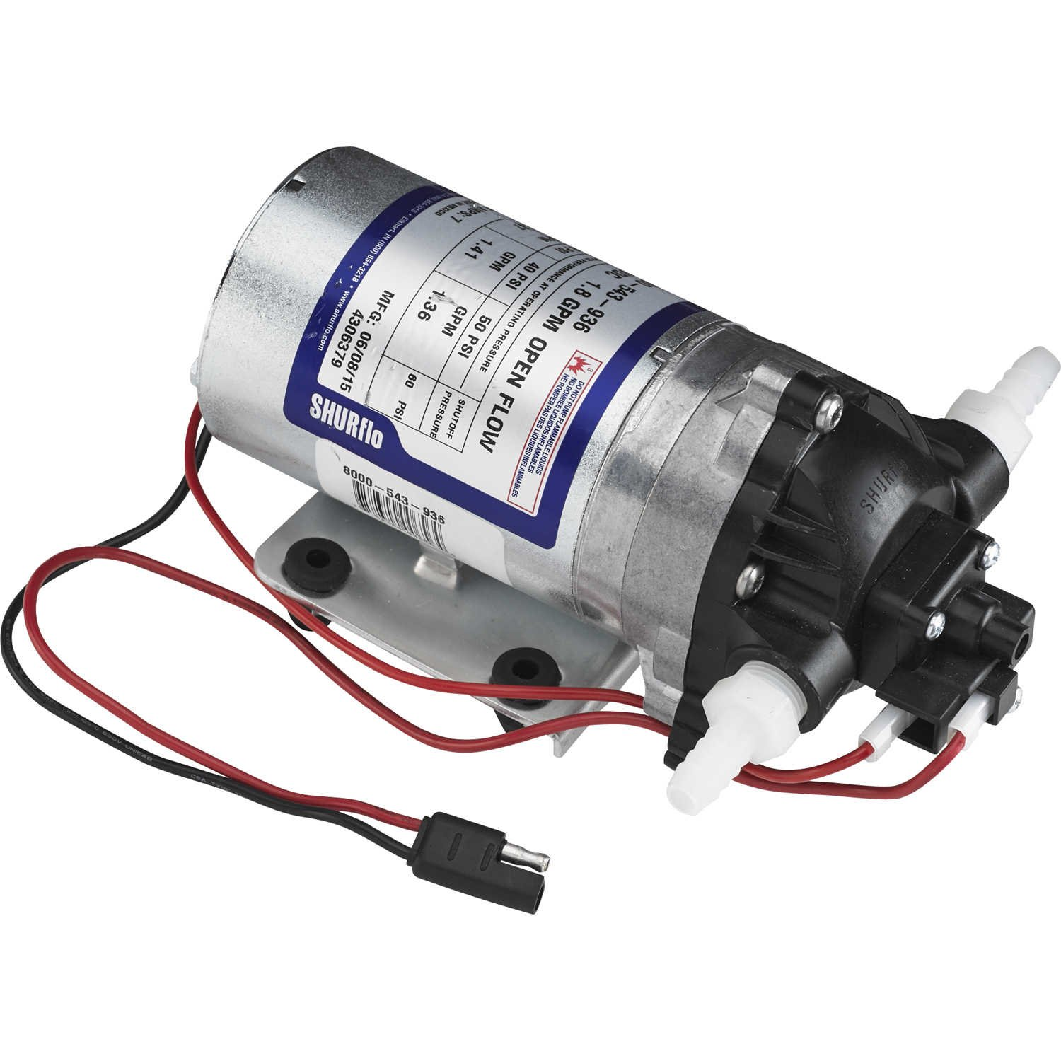 Shurflo 12V DC Standard Pump with Wire Harness, 1.8 GPM, 50 PSI
