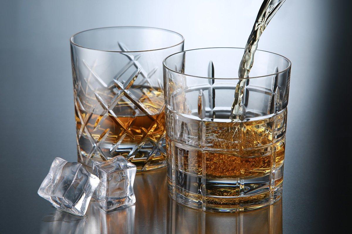 Crystal Glasses Old Fashion Cocktail//Whiskey Goblet//Glasses Whiskey//Scotch//Bourbon Crystal Tumbler SHTOX Roulette Rotating Glass Barware Tumbler