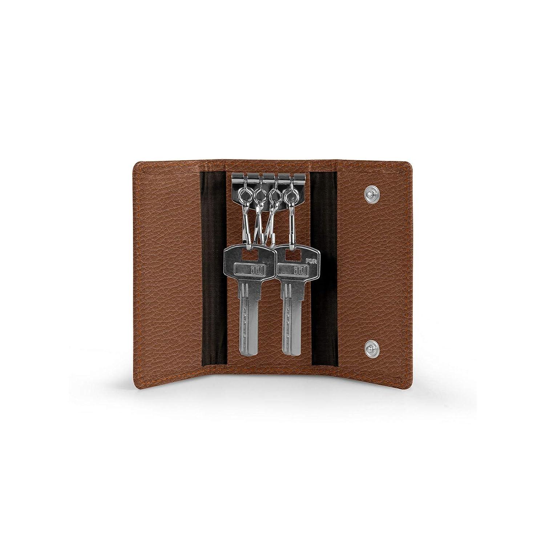 Lucrin - Etui für 4 Schlüssel - Dunkelbraun - Genarbtes Leder B00JQB31BY Damen