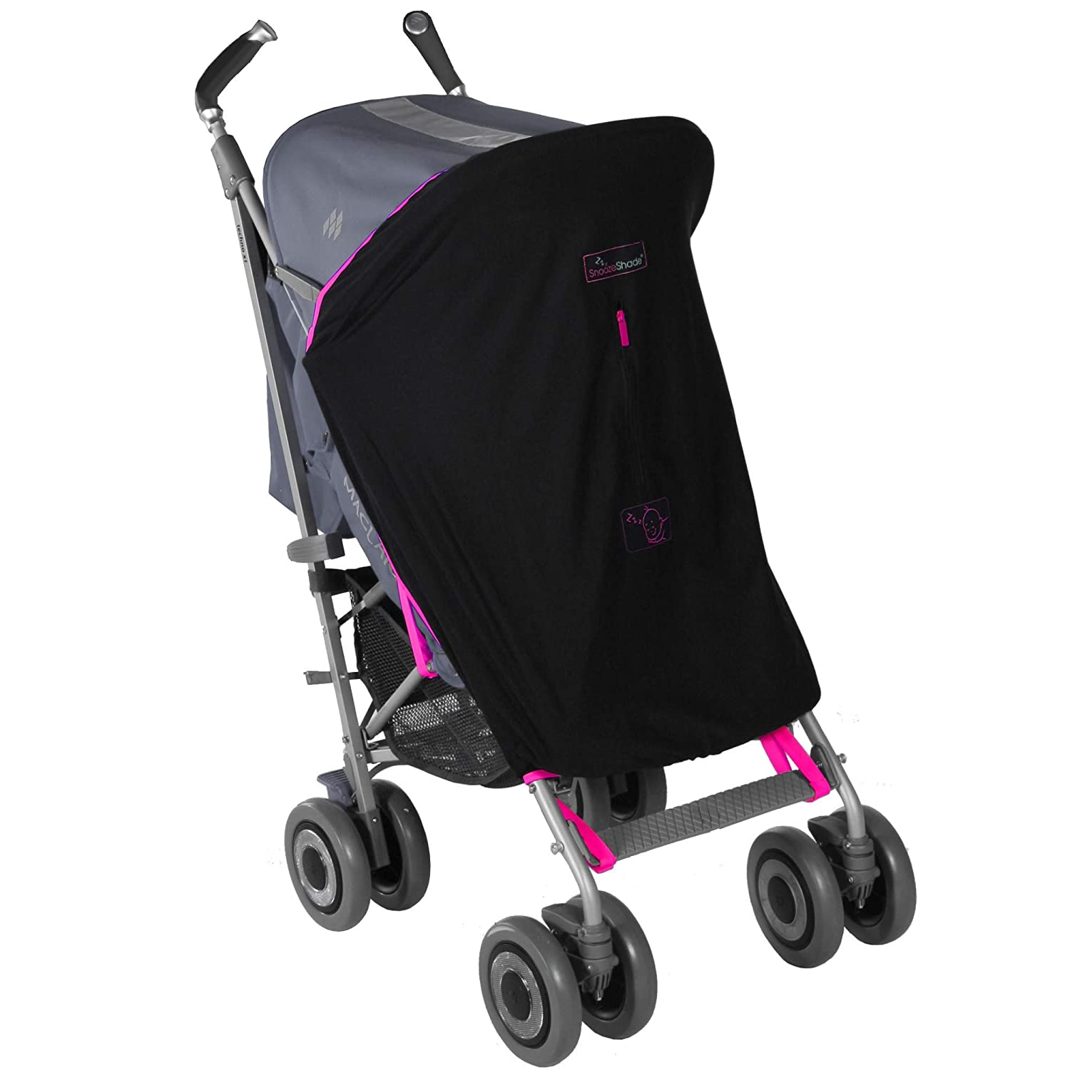 B006HG6R8K Stroller Sun Cover (0-6m) | Baby Sun Shade and Blackout Blind for Strollers | Stops 99% of The Sun's Rays (UPF50+) | Breathable and Universal fit | SnoozeShade Original - Limited Edition Pink Trim 71-QnSQJm2L