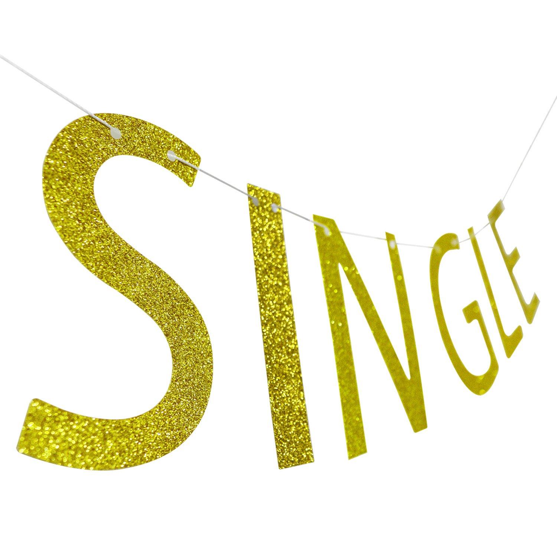 Amazon.com: SINGL AF Gold Glitter Banner   Single Banner   Divorce ...
