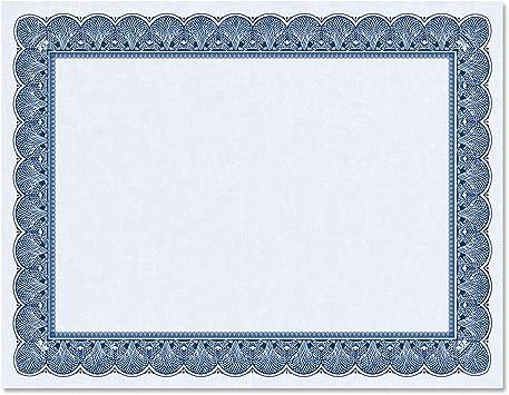 Inkjet Printable 100 Award Certificate Paper 8.5 x 11 with Seals Laser Blue Border Blank