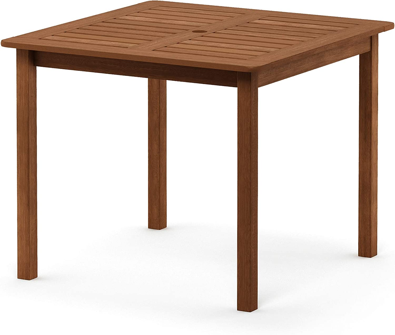 Furinno FG18006 Tioman Hardwood Patio Furniture Square Table with Umbrella Hole, Natural: Garden & Outdoor