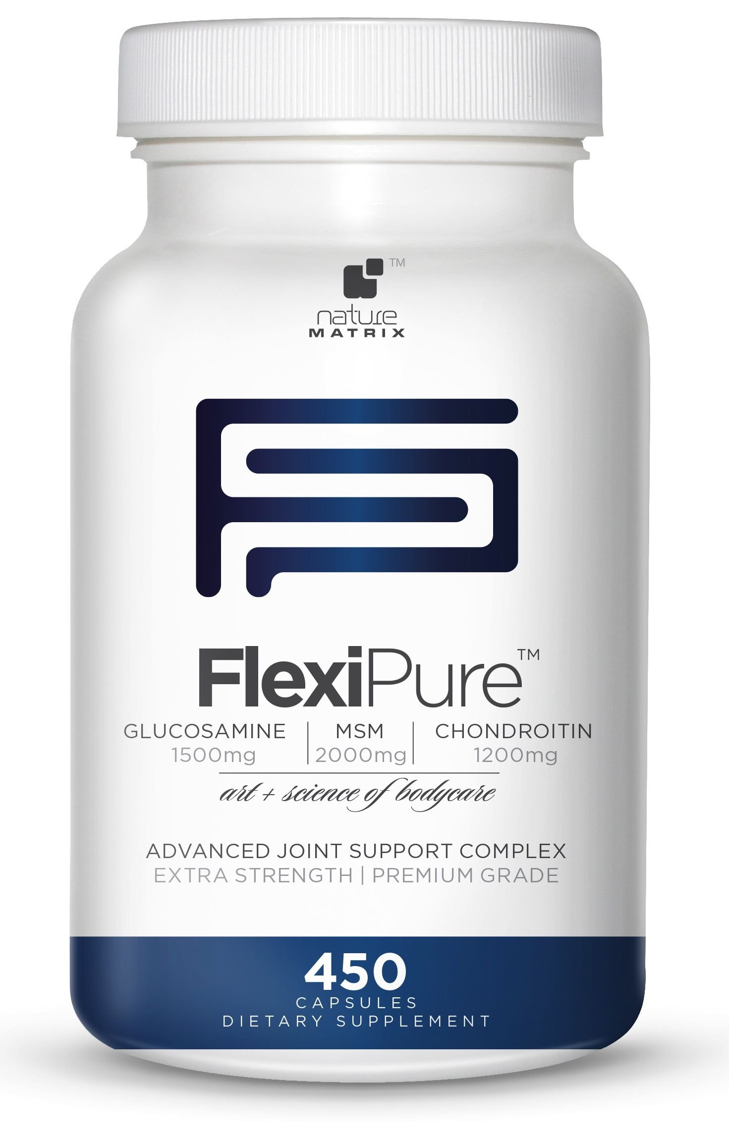 TRIPLE STRENGTH GLUCOSAMINE Sulfate 1500 mg - CHONDROITIN Sulfate 1200 mg - MSM 2000 mg PER SERVING- 450 Capsules Per Bottle- FlexiPure Advanced Joint Support Helps With ARTHRITIS PAIN, Supports HEALTHY And FLEXIBLE Joints and Connective Tissue.