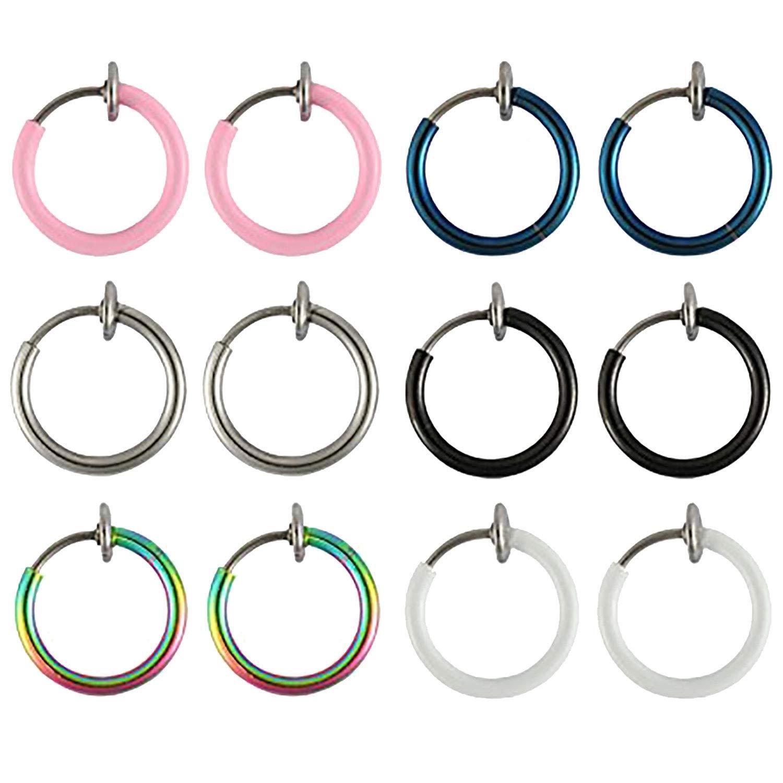 BodyJ4You 12PC Fake Earrings Clip On Hoop Faux Non Piercing Ear Septum Cartilage Women Jewelry FK2177