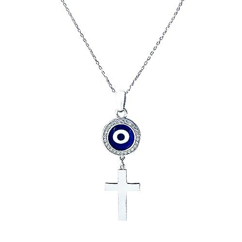 Amazon com: LuckyEye 9600 Silver Cross Evil Eye Necklace for