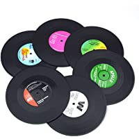 Zuoyou Set of 6 Colorful Retro Vinyl Record Disk Coasters with Funny Labels, Prevent Furniture from Dirty and Scratched
