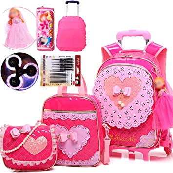 Gyqjs Large Capacity Trolley Bag Boy Girl Primary School Waterproof PU Backpack Detachable Three-Wheeled