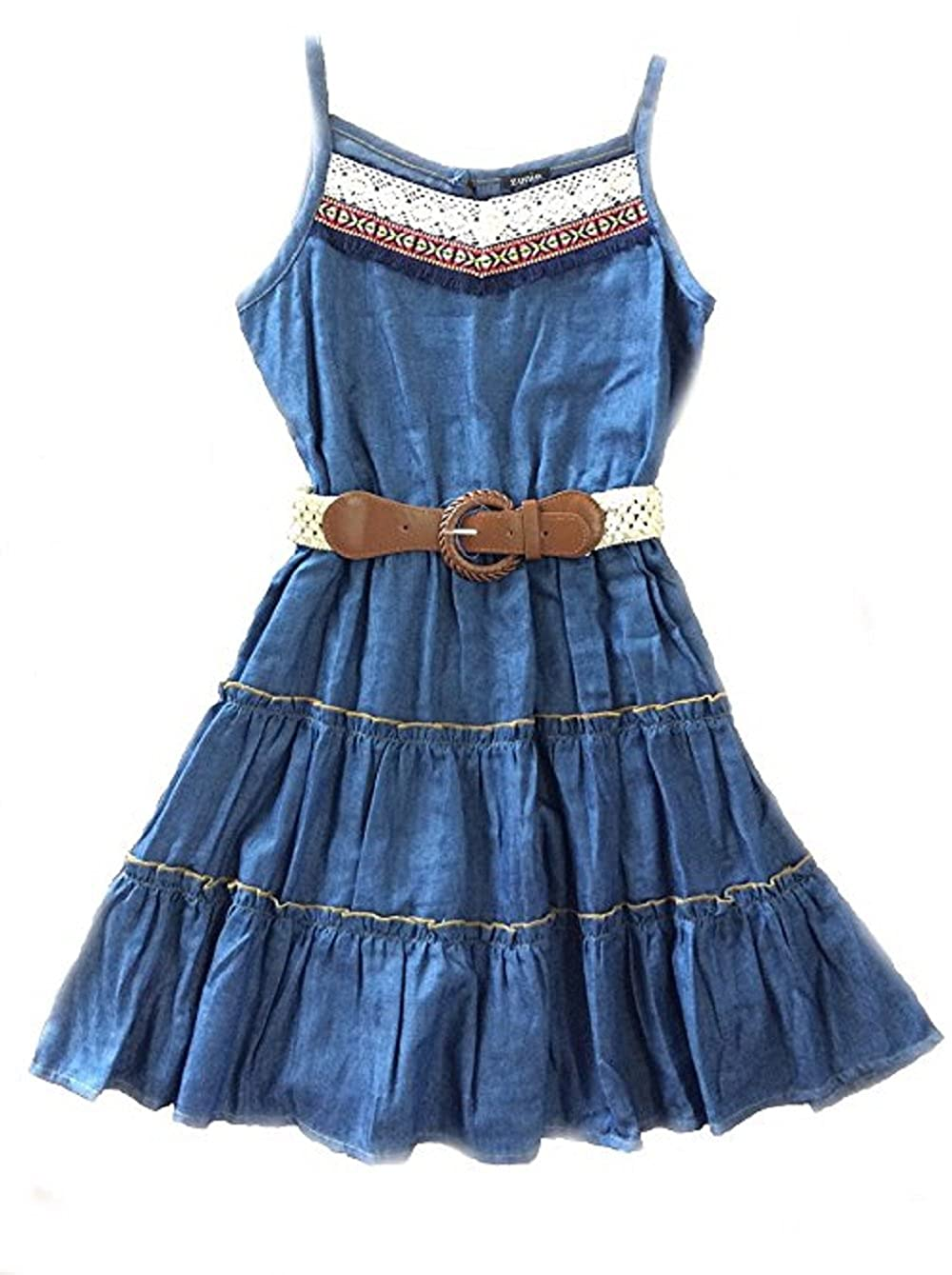 6e54fd74333 Amazon.com  Zunie Big Girls  Denim Shirt Dress with Belt  Clothing