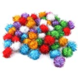 70pcs 3.5cm Glitzy Tinsel Sprayed Pompoms Balls Cat Toys