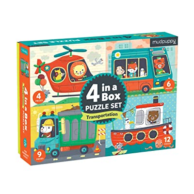 Mudpuppy Transportation 4-in-a-Box Puzzles, Ages 2-5, Each Measures 6 x 8 - Chunky Puzzles with 4, 6, 9 and 12 Pieces - Difficulty Level Grows with Child: Toys & Games