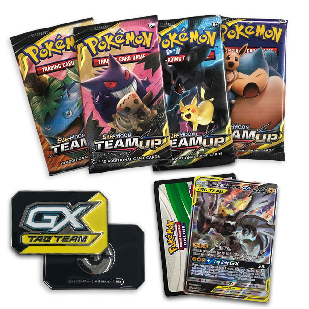 Pokemon TCG: Sun & Moon Team Up Collector's Tin Containing 4 Booster Packs and Featuring A Foil Pikachu & Zekrom GX Card by Pokemon (Image #3)