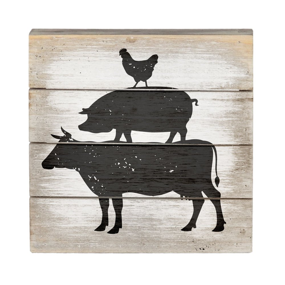Farm Animals - Perfect Pallet Petites 6'' X 6'' Wood Wall Art Sign