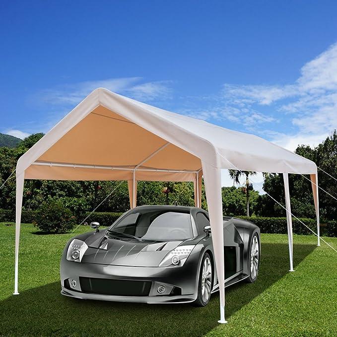 Azadx Cobertizo de coche resistente de 3 m x 20 m, toldo para carro al aire libre versátil con 6 patas de acero y pie de gamuza para uso comercial al aire ...