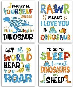 "Dinosaur Decor Gift, Inspirational Lettering Quote Wall Art Print Set of 4 (8""X10"") Wildlife Animal Dinosaur Poster for Boys Tween Girls Room Kids Baby Bedroom Nursery Classroom Room Decor, Unframed"