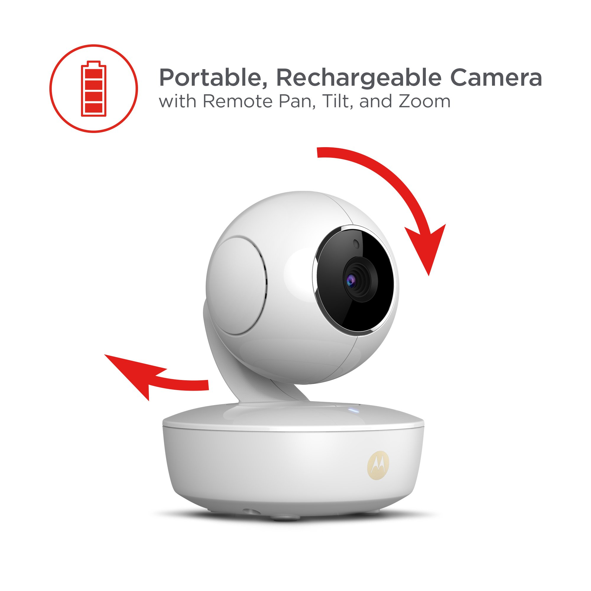Motorola MBP36XL-2 Portable Video Baby Monitor, 5-inch Color Screen, 2 Rechargeable Cameras with Remote Pan, Tilt, and Zoom, Two-Way Audio, and Room Temperature Display by Motorola Baby (Image #3)