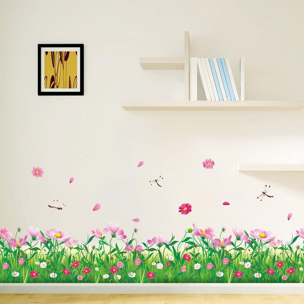 Wandbild: 114x104 cm Wandaufkleber Blumenwiese Gr/äser Lavendel rosa Kamille Libelle gr/ün Wiese Bl/üten Bord/üre WandSticker4U- WandtattooFeld der Blumen Deko f/ür Wohnzimmer Kinderzimmer Fenster
